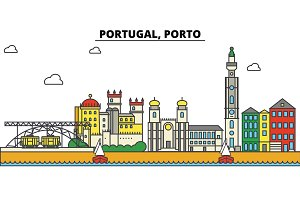 Portugal, Porto. City skyline: architecture, buildings, streets, silhouette, landscape, panorama, landmarks. Editable strokes. Flat design line vector illustration concept. Isolated icons set
