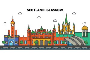 Scotland, Glasgow. City skyline: architecture, buildings, streets, silhouette, landscape, panorama, landmarks. Editable strokes. Flat design line vector illustration concept. Isolated icons set