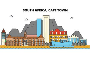 South Africa, Cape Town. City skyline: architecture, buildings, streets, silhouette, landscape, panorama, landmarks. Editable strokes. Flat design line vector illustration concept. Isolated icons set