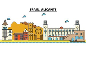 Spain, Alicante. City skyline: architecture, buildings, streets, silhouette, landscape, panorama, landmarks. Editable strokes. Flat design line vector illustration concept. Isolated icons set