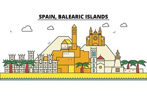 Spain, Balearis Islands. City skyline: architecture, buildings, streets, silhouette, landscape, panorama, landmarks. Editable strokes. Flat design line vector illustration concept. Isolated icons set