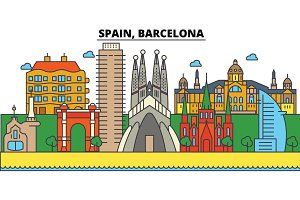 Spain, Barcelona. City skyline: architecture, buildings, streets, silhouette, landscape, panorama, landmarks. Editable strokes. Flat design line vector illustration concept. Isolated icons set