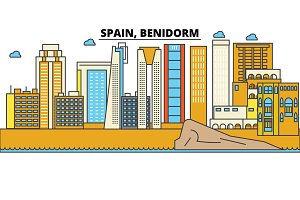Spain, Benidorm. City skyline: architecture, buildings, streets, silhouette, landscape, panorama, landmarks. Editable strokes. Flat design line vector illustration concept. Isolated icons set