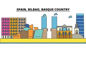 Spain, Bilbao, Basque Country. City skyline: architecture, buildings, streets, silhouette, landscape, panorama, landmarks. Editable strokes. Flat design line vector illustration. Isolated icons set