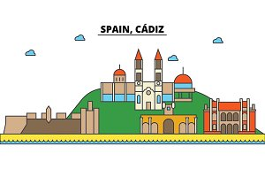 Spain, Cadiz. City skyline: architecture, buildings, streets, silhouette, landscape, panorama, landmarks. Editable strokes. Flat design line vector illustration concept. Isolated icons set