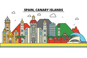 Spain, Canary Islands. City skyline: architecture, buildings, streets, silhouette, landscape, panorama, landmarks. Editable strokes. Flat design line vector illustration concept. Isolated icons set
