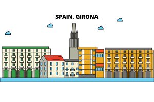 Spain, Girona. City skyline: architecture, buildings, streets, silhouette, landscape, panorama, landmarks. Editable strokes. Flat design line vector illustration concept. Isolated icons set
