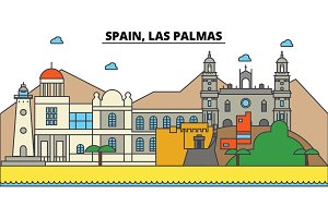 Spain, Las Palmas. City skyline: architecture, buildings, streets, silhouette, landscape, panorama, landmarks. Editable strokes. Flat design line vector illustration concept. Isolated icons set