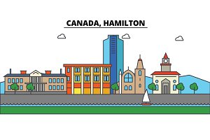 Canada, Hamilton. City skyline: architecture, buildings, streets, silhouette, landscape, panorama, landmarks. Editable strokes. Flat design line vector illustration concept. Isolated icons set