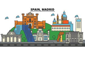 Spain, Madrid. City skyline: architecture, buildings, streets, silhouette, landscape, panorama, landmarks. Editable strokes. Flat design line vector illustration concept. Isolated icons set