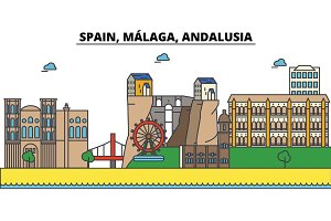 Spain, Malaga, Andalusia. City skyline: architecture, buildings, streets, silhouette, landscape, panorama, landmarks. Editable strokes. Flat design line vector illustration. Isolated icons set
