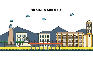 Spain, Marbella. City skyline: architecture, buildings, streets, silhouette, landscape, panorama, landmarks. Editable strokes. Flat design line vector illustration concept. Isolated icons set