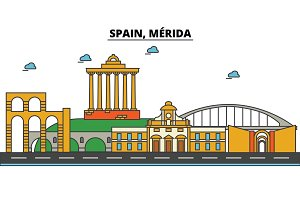 Spain, Merida. City skyline: architecture, buildings, streets, silhouette, landscape, panorama, landmarks. Editable strokes. Flat design line vector illustration concept. Isolated icons set