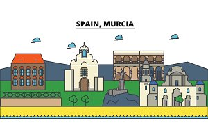 Spain, Murcia. City skyline: architecture, buildings, streets, silhouette, landscape, panorama, landmarks. Editable strokes. Flat design line vector illustration concept. Isolated icons set