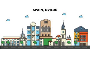 Spain, Oviedo. City skyline: architecture, buildings, streets, silhouette, landscape, panorama, landmarks. Editable strokes. Flat design line vector illustration concept. Isolated icons set