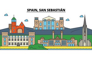 Spain, San Sebastian. City skyline: architecture, buildings, streets, silhouette, landscape, panorama, landmarks. Editable strokes. Flat design line vector illustration concept. Isolated icons set