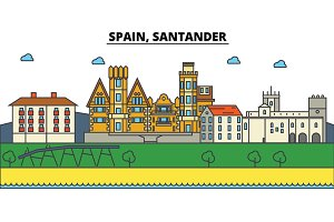 Spain, Santander. City skyline: architecture, buildings, streets, silhouette, landscape, panorama, landmarks. Editable strokes. Flat design line vector illustration concept. Isolated icons set