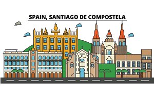 Spain, Santiago De Compostela. City skyline: architecture, buildings, streets, silhouette, landscape, panorama, landmarks. Editable strokes. Flat design line vector illustration. Isolated icons set