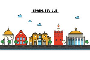 Spain, Seville. City skyline: architecture, buildings, streets, silhouette, landscape, panorama, landmarks. Editable strokes. Flat design line vector illustration concept. Isolated icons set