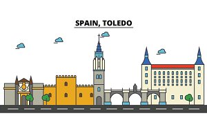 Spain, Toledo. City skyline: architecture, buildings, streets, silhouette, landscape, panorama, landmarks. Editable strokes. Flat design line vector illustration concept. Isolated icons set