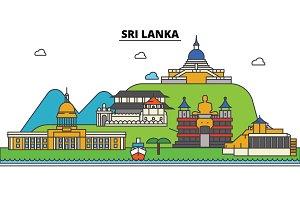 Sri, Lanka. City skyline: architecture, buildings, streets, silhouette, landscape, panorama, landmarks. Editable strokes. Flat design line vector illustration concept. Isolated icons set