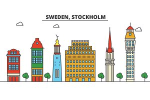 Sweden, Stockholm. City skyline: architecture, buildings, streets, silhouette, landscape, panorama, landmarks. Editable strokes. Flat design line vector illustration concept. Isolated icons set