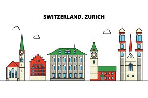 Switzerland, Zurich. City skyline: architecture, buildings, streets, silhouette, landscape, panorama, landmarks. Editable strokes. Flat design line vector illustration concept. Isolated icons set