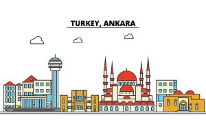 Turkey, Ankara. City skyline: architecture, buildings, streets, silhouette, landscape, panorama, landmarks. Editable strokes. Flat design line vector illustration concept. Isolated icons set