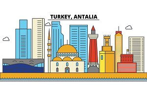 Turkey, Antalia. City skyline: architecture, buildings, streets, silhouette, landscape, panorama, landmarks. Editable strokes. Flat design line vector illustration concept. Isolated icons set