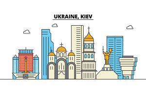 Ukraine, Kiev. City skyline: architecture, buildings, streets, silhouette, landscape, panorama, landmarks. Editable strokes. Flat design line vector illustration concept. Isolated icons set