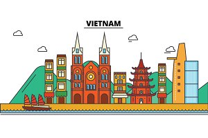 Vietnam, . City skyline: architecture, buildings, streets, silhouette, landscape, panorama, landmarks. Editable strokes. Flat design line vector illustration concept. Isolated icons set