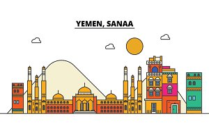 Yemen, Sanaa. City skyline: architecture, buildings, streets, silhouette, landscape, panorama, landmarks. Editable strokes. Flat design line vector illustration concept. Isolated icons set
