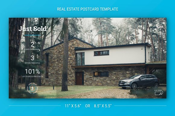 just sold postcard for real estate card templates creative market