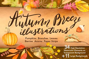 Autumn Breeze Watercolor Graphics