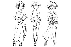 Vector SET of cute fashionable girls