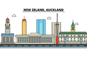 New Zealand, Auckland. City skyline: architecture, buildings, streets, silhouette, landscape, panorama, landmarks. Editable strokes. Flat design line vector illustration concept. Isolated icons