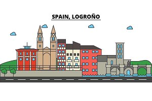 Spain, Logrono. City skyline: architecture, buildings, streets, silhouette, landscape, panorama, landmarks. Editable strokes. Flat design line vector illustration concept. Isolated icons