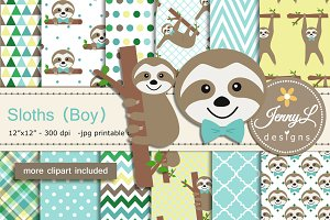 Sloth Boy Digital Paper & Clipart