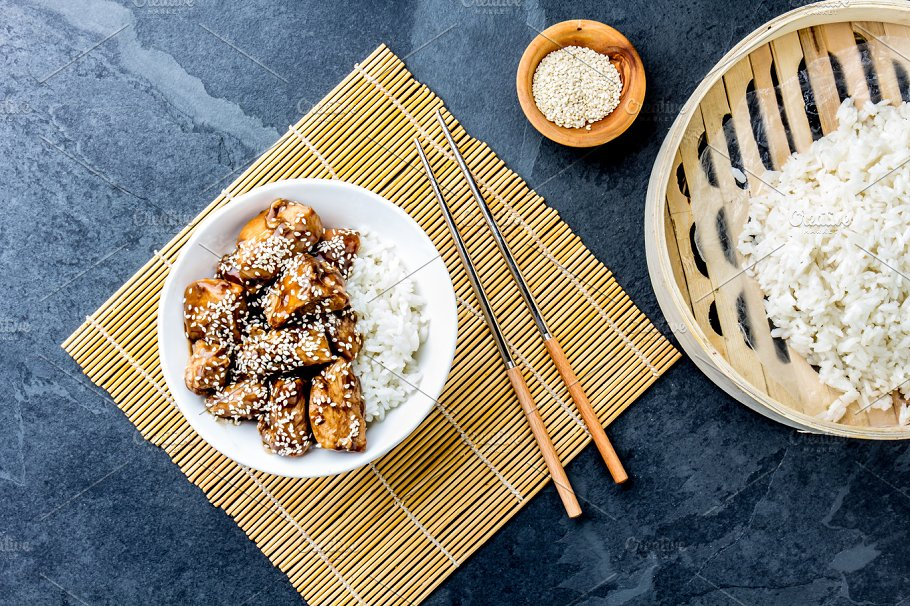 Japanese Food Chicken Teriyaki With Rice Slate Background Top View