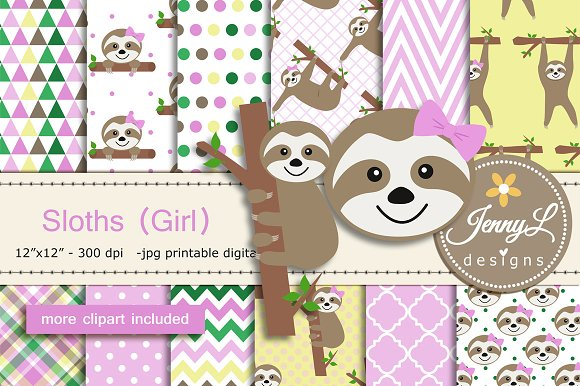 Sloth Girl Digital papers & Clipart