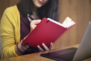 Woman reading novel indoor