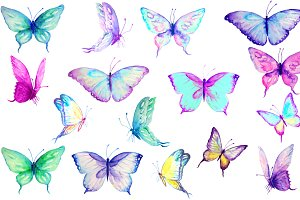 Watercolor Clip Art Blue Butterflies