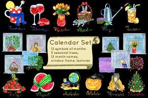 Calendar concept symbols