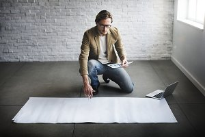 Businessman working on project