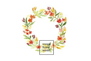 Hand Painted Orange Flower Wreath