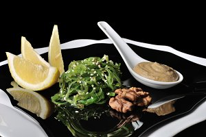 Chuka seaweed salad with peanut sauc