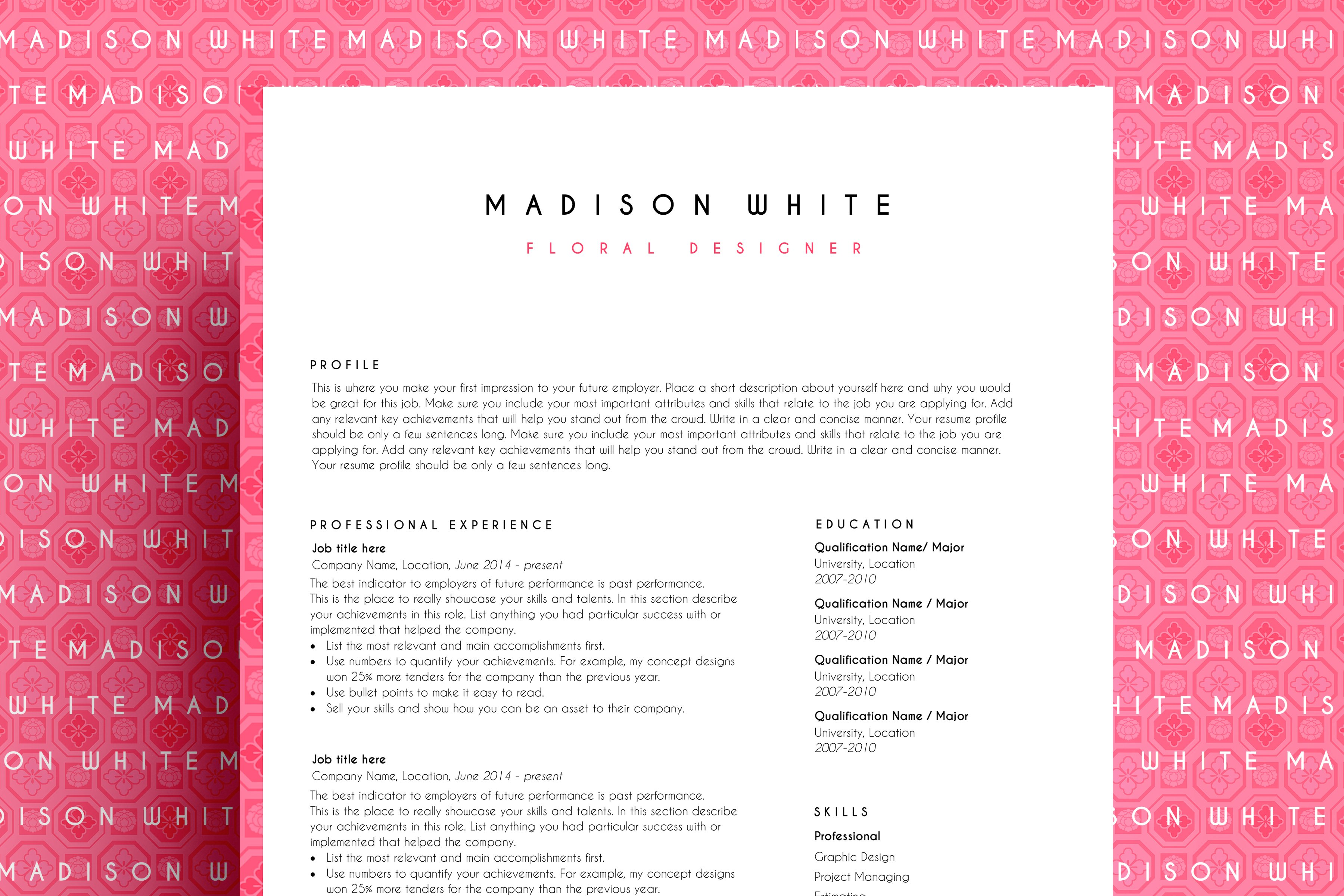 resume template ms word resume templates creative market