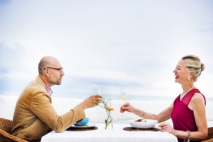 Couple having a meal together