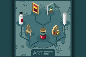 Art isometric concept icons