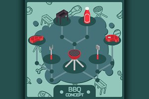 BBQ color isometric concept icons